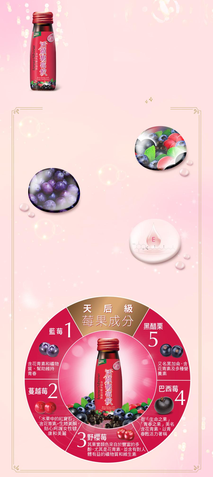 白蘭氏活顏馥莓飲,喚醒美麗能量,展現光彩素顏